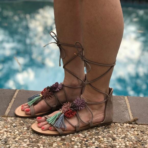 6e4a49cdbbde Madden Girl Shoes - Lace Up Madden Girl Sandals - 9 Women s Pom Poms
